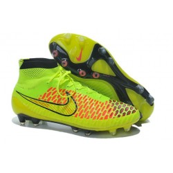 Chaussures De Football 2014 Nike Magista Obra FG Volt/Or Métallisé/Hyper Punch