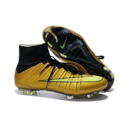 Chaussures Football 2014 Nouvelle Nike Mercurial Superfly FG ACC Or Noir