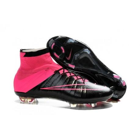 Chaussure de Football Nouvel 2015 Cuir Nike Mercurial Superfly FG ACC Noir Hyper Rose