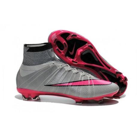 Chaussure de Football Nouvel 2015 Nike Mercurial Superfly FG ACC Gris Loup Hyper Rose