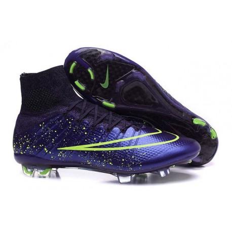 Nouveau Crampons 2015 Nike Mercurial Superfly FG ACC Power Clash Cuir Violet Vert