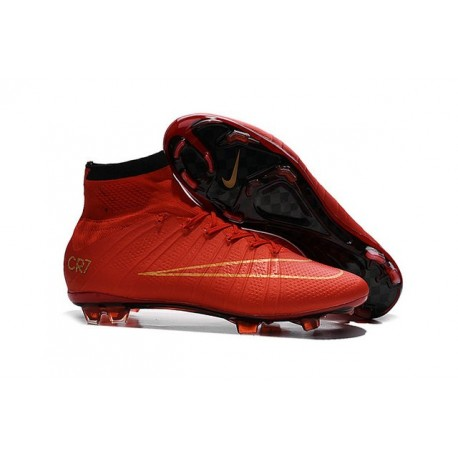 Cristiano Ronaldo Nike Chaussures Nouvelle Mercurial Superfly FG CR7 Rouge Or