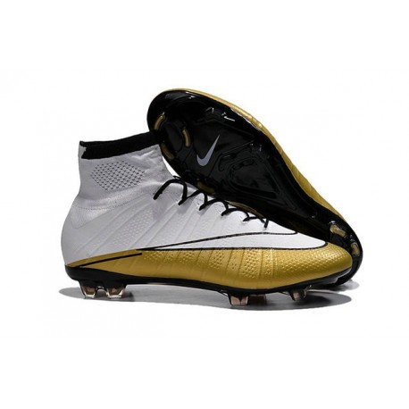 Crampons Nouveaux Football Nike Mercurial Superfly CR7 FG Blanc Or