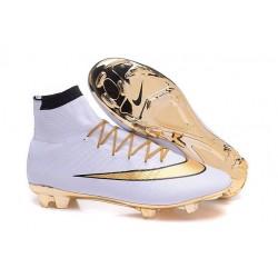Cristiano Ronaldo Chaussure Nike Mercurial Superfly Iv FG Blanc Or
