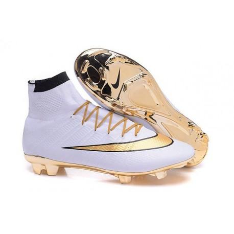 Cristiano Ronaldo Chaussure FG Nike Mercurial Superfly Iv FG Chaussure Blanc Or af5c98