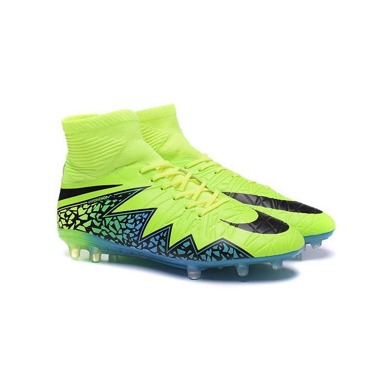 timeless design 95c68 a09cb Crampon de Foot 2016 Nouvelle Nike Hypervenom Phantom II FG Volt Noir Bleu  Zoom. Précédent · Suivant