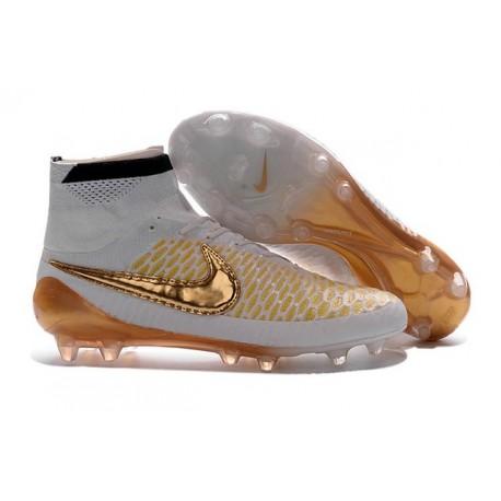Crampons de Foot Neuf 2016 Nike Magista Obra FG Blanc Or