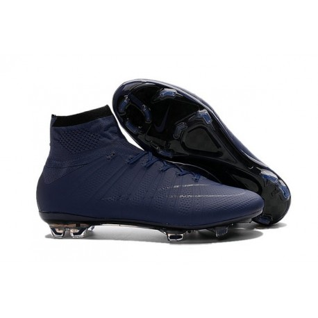 Cristiano Ronaldo Chaussure Nike Mercurial Superfly Iv FG Cyan Noir