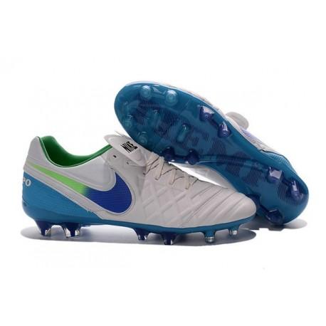 Crampons de Foot 2016 Nike Tiempo Legend VI FG Homme Blanc Bleu