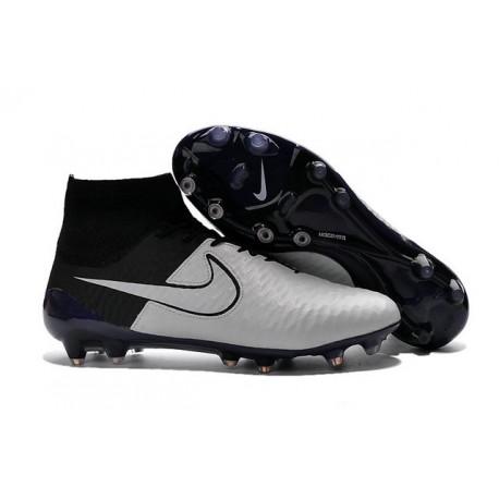 Crampons de Foot Neuf 2016 Nike Magista Obra FG Cuir Blanc Noir