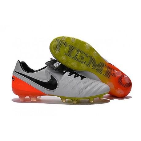 Nike Tiempo Legend 6 FG Cuir Chaussures Football Blanc Orange Noir