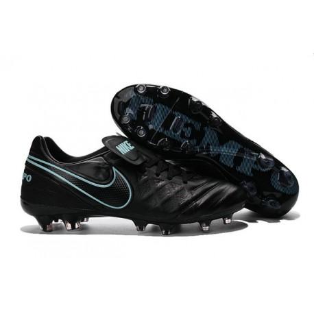 Nike Tiempo Legend 6 FG Cuir Chaussures Football Noir Bleu