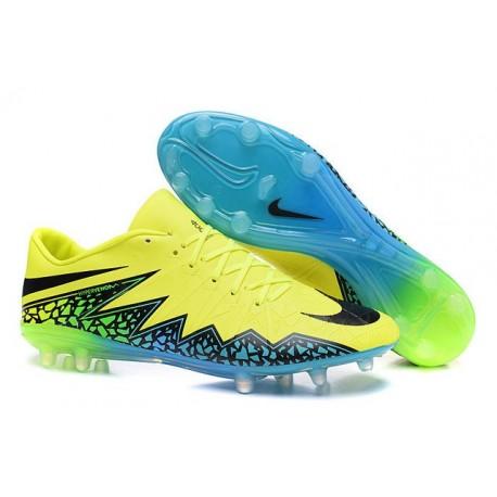Nike Nouveaux Chaussures 2016 Hypervenom Phinish FG Volt Noir Bleu