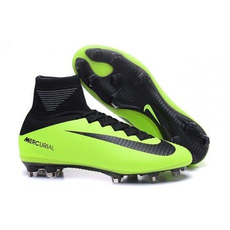 Nouvelles 2016 Chaussures Nike Mercurial Superfly V FG Vert Noir