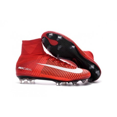Nouvelles 2016 Chaussures Nike Mercurial Superfly V FG Rouge Blanc