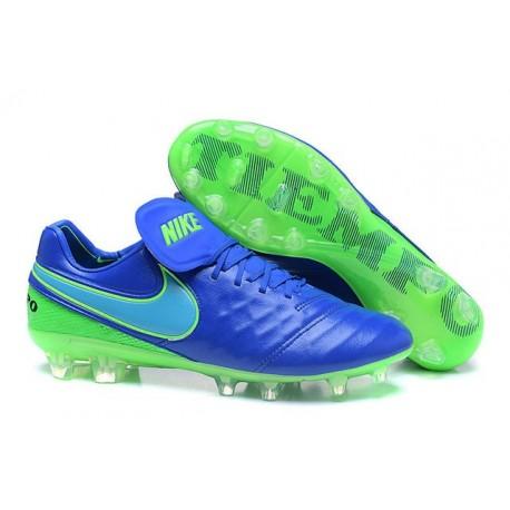 Nike Tiempo Legend 6 FG Cuir Chaussures Football Bleu Vert