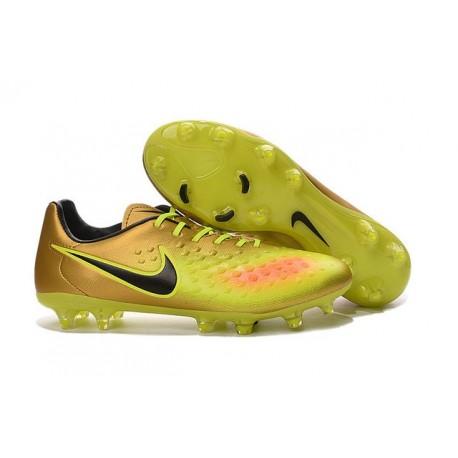 Chaussures Football Nouvelles 2016 Nike Magista Opus II FG Or Jaune Noir