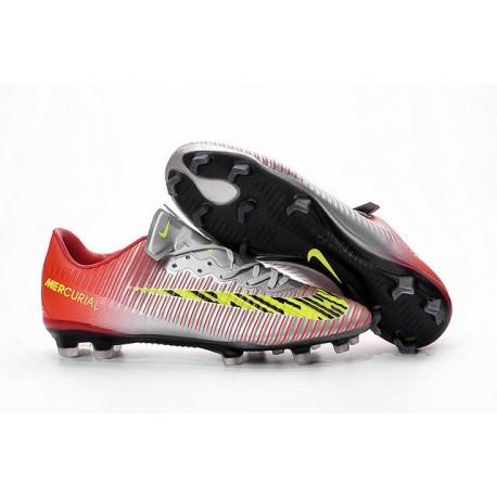 Chaussure de Foot Nouveau 2016 Nike Mercurial Vapor XI FG Argent Jaune Rouge