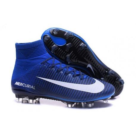 Crampons Football Nouveaux Nike Mercurial Superfly 5 FG ACC Bleu Blanc