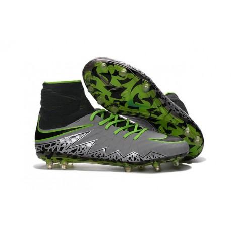 Nike Nouvel Crampons Football Hypervenom Phantom II FG Platine Noir Vert