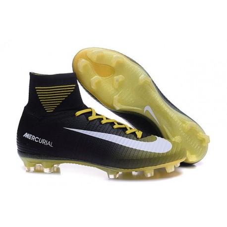 best service 6849d 4ba84 Crampons Football Nouveaux Nike Mercurial Superfly 5 FG Noir Jaune Blanc