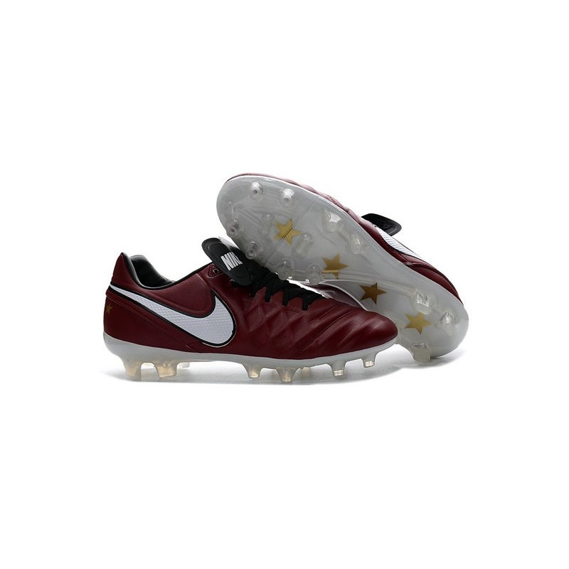 Nike Tiempo Legend 6 FG Cuir Chaussures Football Rouge Blanc