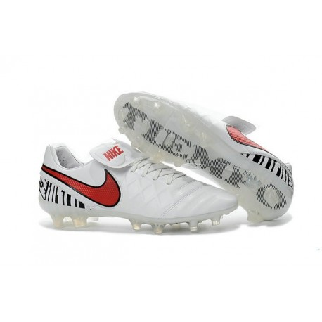 Nike Tiempo Legend 6 FG Cuir Chaussures Football Blanc Rouge