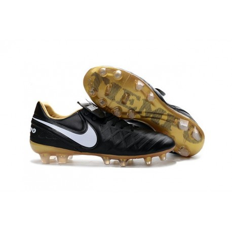 Nike Tiempo Legend 6 FG Cuir Chaussures Football Noir Blanc Or