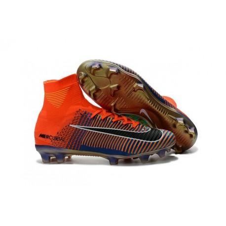 Crampons Football Nouveaux Nike Mercurial Superfly 5 FG Orange Noir Vert