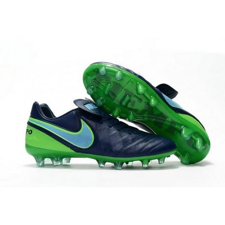 Nike Tiempo Legend 6 FG Cuir Chaussures Football Noir Vert