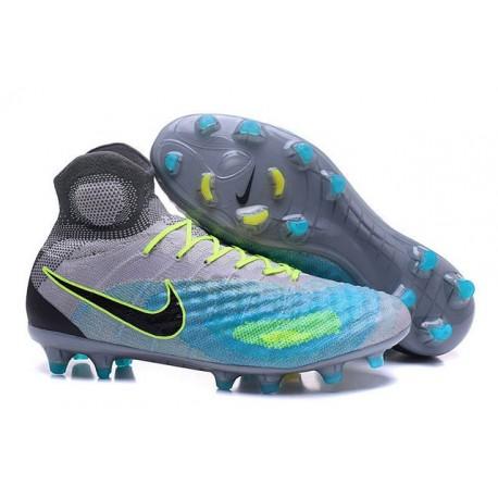 Chaussures de Foot Nouvelles Nike Magista Obra II FG Gris Bleu Noir