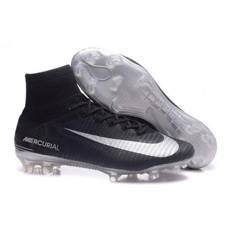 Nike Mercurial Superfly V FG Chaussure de Foot Homme Noir Argent