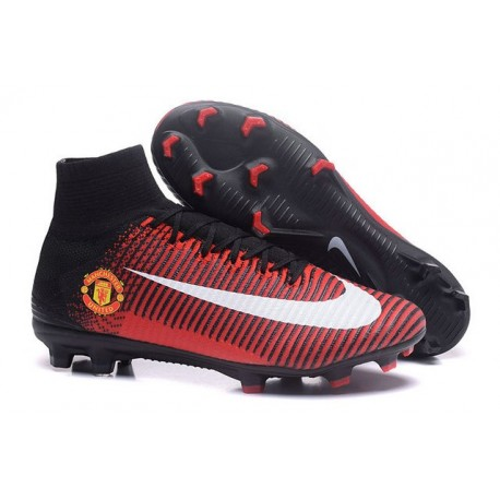 Nike Crampons Football Mercurial Superfly V FG Manchester United Football Club Rouge