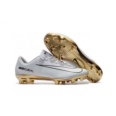 Nike Mercurial Vapor Vitórias XI CR7 FG Nouvelles Chaussures de Foot Blanc Or