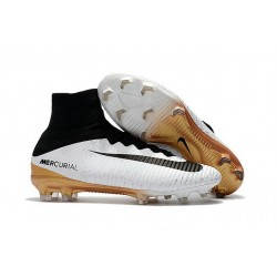 Nike Crampons Football Mercurial Superfly V FG Blanc Or Noir