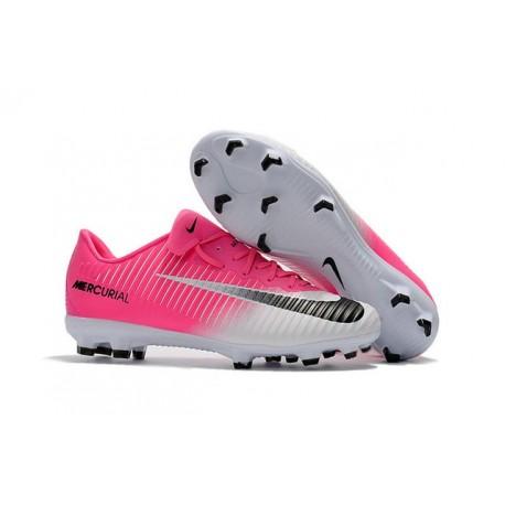 Nike Mercurial Vapor XI FG Nouvelles Chaussures de Foot Rose Blanc Noir