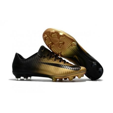 Nike Mercurial Vapor XI FG Nouvelles Chaussures de Foot Noir Or