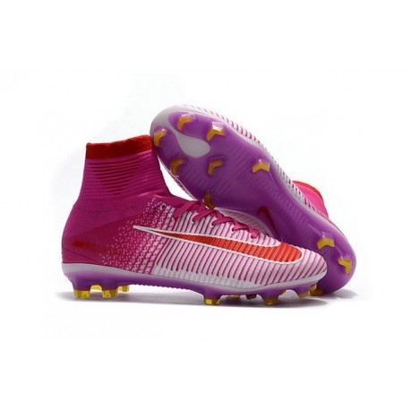 Nike Mercurial Superfly 5 FG ACC Nouvelles Chaussure de Foot Rose Rouge