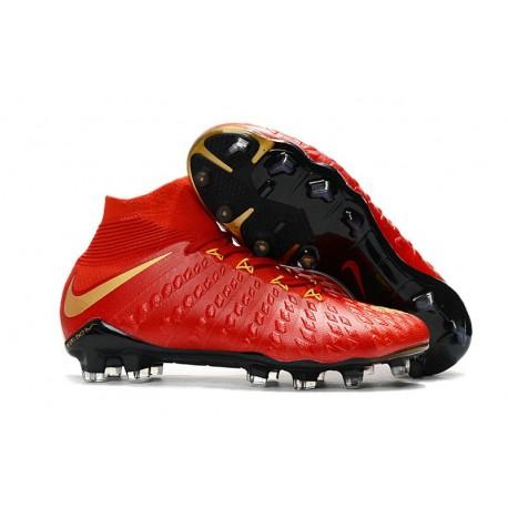 Chaussures Nouvel Nike Hypervenom Phantom III DF FG Rouge Or