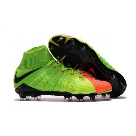 Chaussures Nouvel Nike Hypervenom Phantom III DF FG Vert Orange Noir
