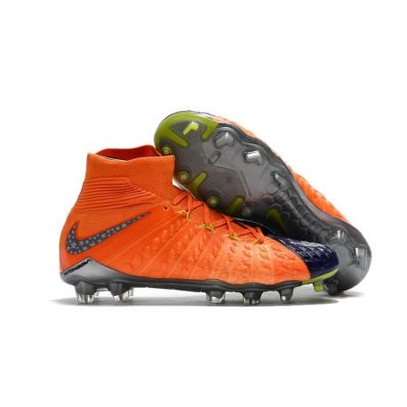 Chaussures Nouvel Nike Hypervenom Phantom III DF FG Orange Bleu