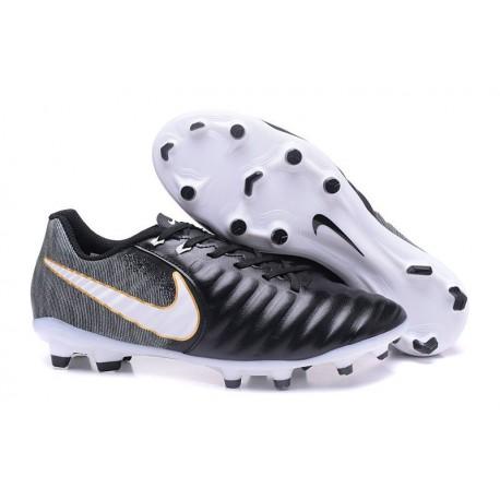 Chaussures de Football 2017 Nike Tiempo Legend VII FG ACC Noir Blanc