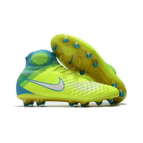 Nike Magista Obra II FG Nouveaux Chaussure de Foot Jaune Bleu
