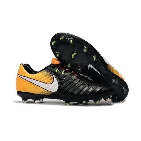 Chaussures de Football 2017 Nike Tiempo Legend VII FG ACC Noir Jaune