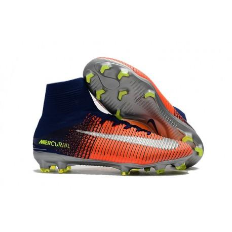 Nike Crampon Football 2017 Mercurial Superfly V FG Bleu Royal Chrome Carmin