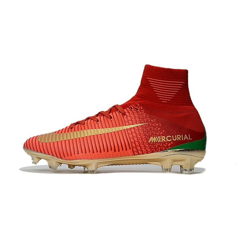 Nike Crampon Football 2017 Mercurial Superfly V CR7 FG Rouge Or
