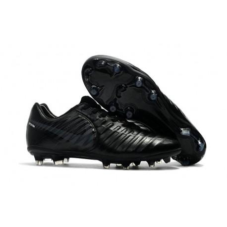 Chaussures de Football 2017 Nike Tiempo Legend VII FG ACC Tout Noir