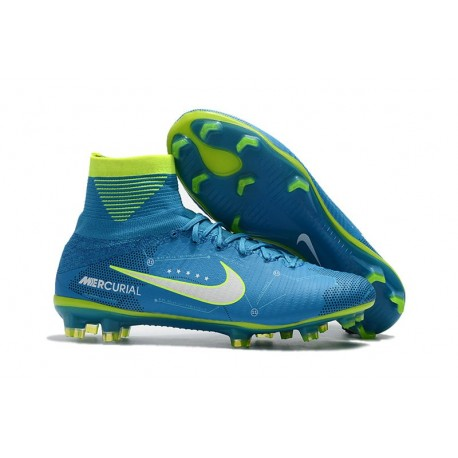 Chaussure de Foot Neuf Nike Mercurial Superfly 5 FG Neymar Bleu Blanc