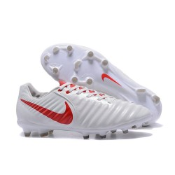 Chaussures de Football 2017 Nike Tiempo Legend VII FG ACC Blanc Rouge