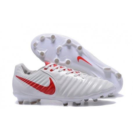 Chaussures de Football 2017 Nike Tiempo Legend VII FG ACC Blanc Rouge